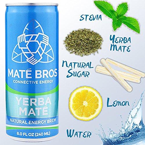 Yerba Mate MatéBros - Energy Drink Tea, 8 Fluid Ounces, Natural Caffeine Energy Brew, (24 pack)