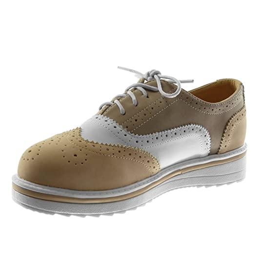 8876f077a421b Angkorly Chaussure Mode Derbies Semelle Basket Plateforme Femme Perforée  Talon Plat 3.5 cm  Amazon.fr  Chaussures et Sacs