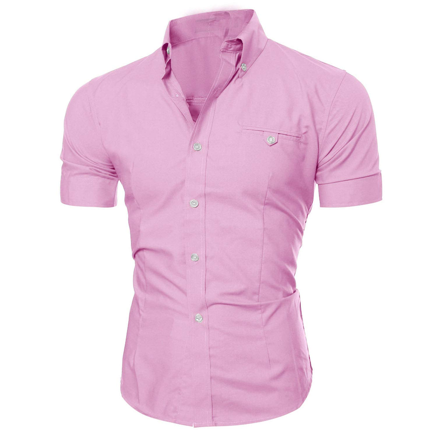 Jamais-Vu Mens Shirt Short Sleeve Shirt Mens Casual Button Down Shirts Mens Fashion Shirt,Rosa,XL