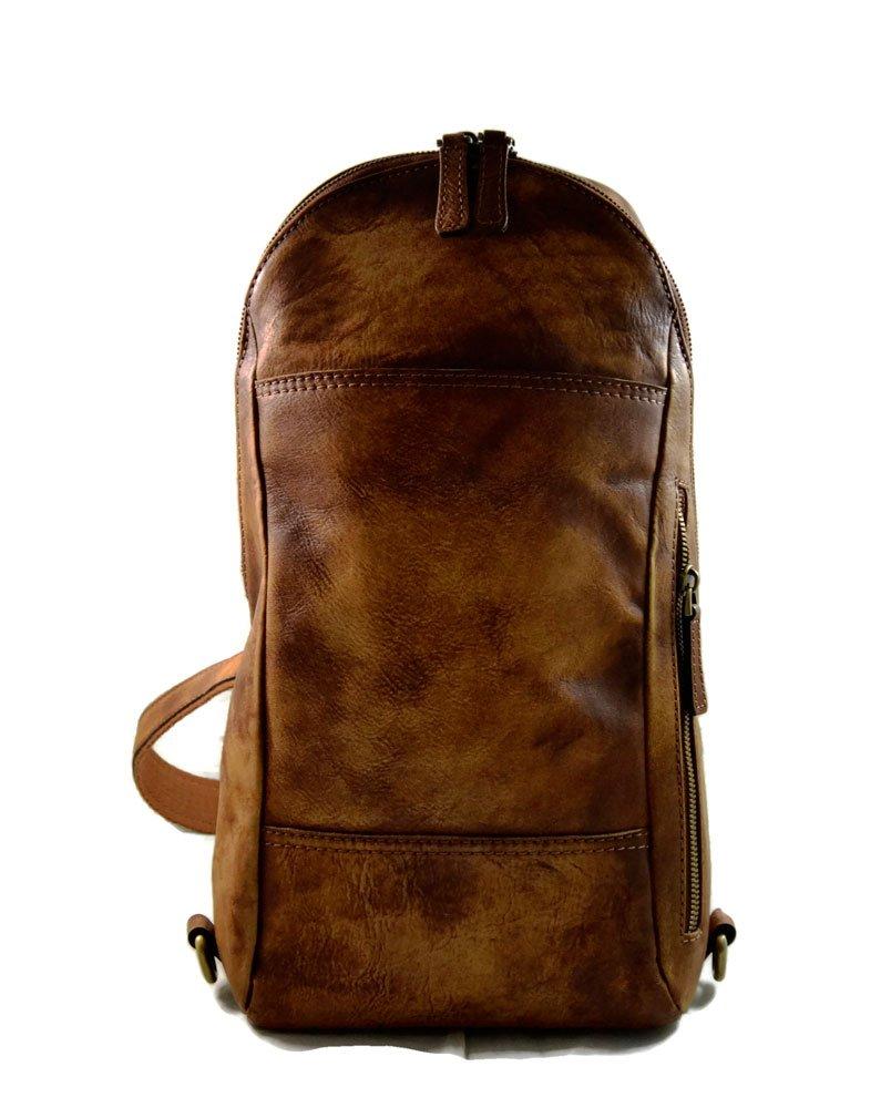 Mens waist leather shoulder bag hobo bag travel back sling satchel brown backpack leather backpack leather sling washed leather