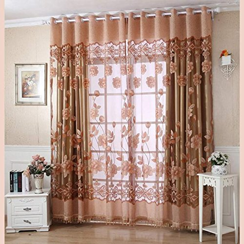 Price comparison product image Print Floral Voile Tulle Door Window Curtain,  8.2×3.28ft Curtain Divider Scarf Valances (Coffee)