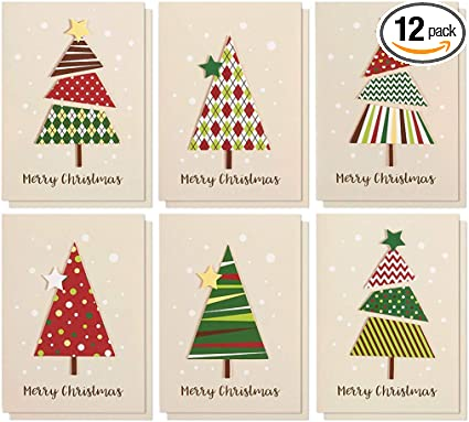 amazon com set of 12 merry christmas greetings cards handmade christmas cards with assorted xmas tree themes includes white v flap envelopes 5 x 7 inches health personal care set of 12 merry christmas greetings cards handmade christmas cards with assorted xmas tree themes includes white v flap envelopes 5 x 7 inches