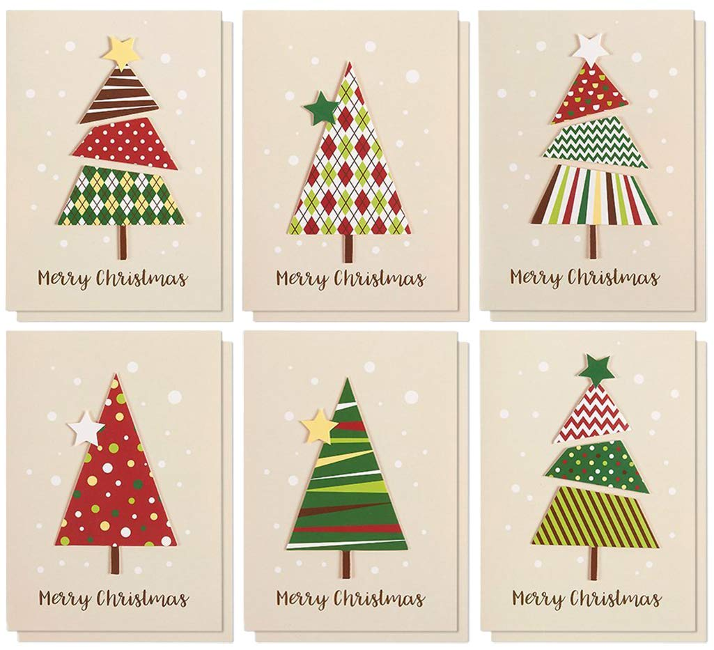 Christmas Card Images.Set Of 12 Merry Christmas Greetings Cards Handmade Christmas Cards With Assorted Xmas Tree Themes Includes White V Flap Envelopes 5 X 7 Inches