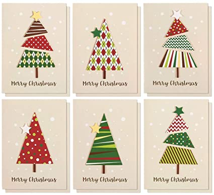 Amazon.com: Set of 12 Merry Christmas Greetings Cards - Handmade ...