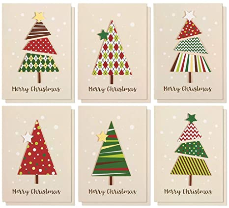 Set of 12 Merry Christmas Greetings Cards , Handmade Christmas Cards with  Assorted Xmas Tree Themes , Includes White V,Flap Envelopes, 5 x 7 Inches