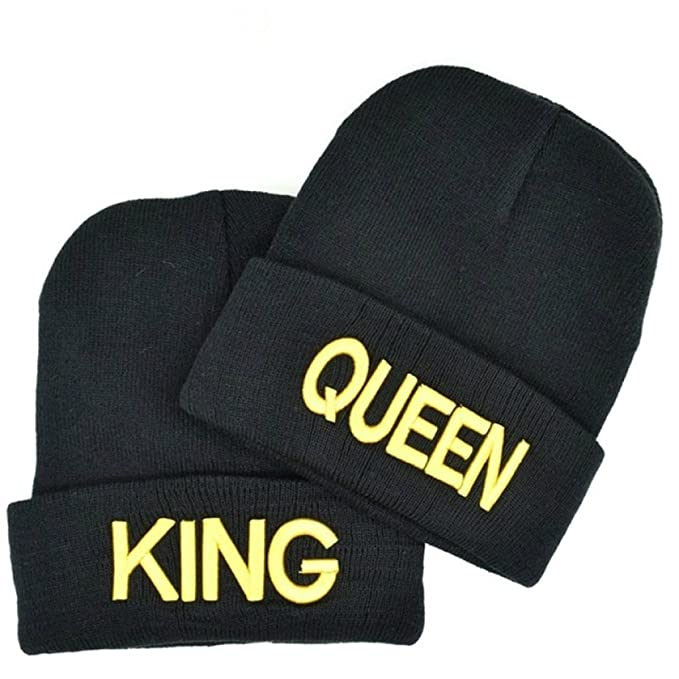 2a621527108 Couple Matching King   Queen Warm Stylish Beanie Hat (Golden letter ...