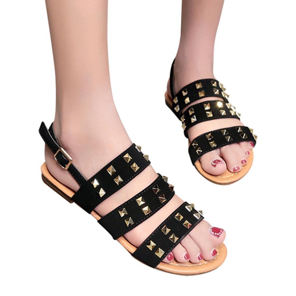 Vintage Europauml;ischen Stil Frauen Sandalen Atmungsaktive Nieten Offene Kappe Schnalle Flache Sandalen Rom Hausschuhe  7|Schwarz