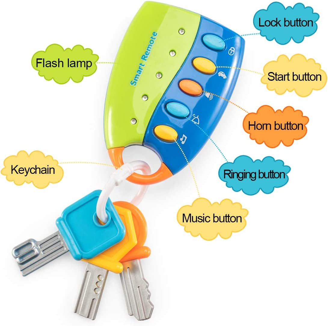 Baby Car Key Kids Musical Keys Baby/'s Sound Light Pretend Toy Keychain Gifts