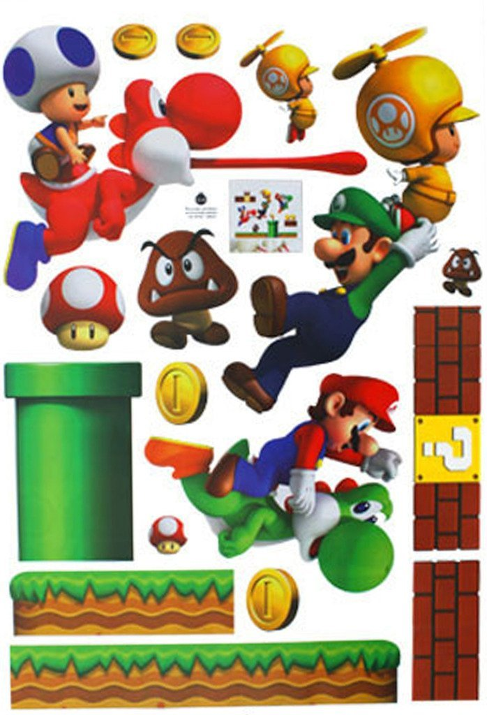 ( Princess ) Princess students glue with decorative wallpaper wall stickers nursery Kids children room bedroom Super Mario that can be used, for example, [Super Mario] 70cm * 50cm