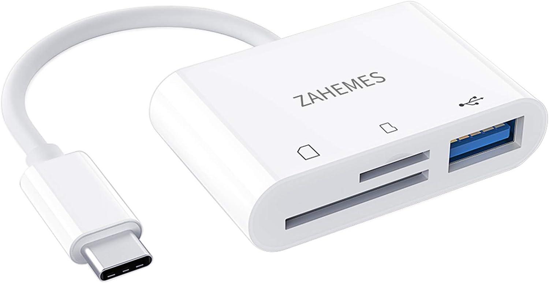 USB C SD Card Reader (USB 3.0),ZAHEMES Micro SD Card Reader Adapter,Camera Memory Card Reader SD Card Adapter for iPad Pro/MacBook Pro/iMac/Samsung/Chromebook/Pixelbook More USB C
