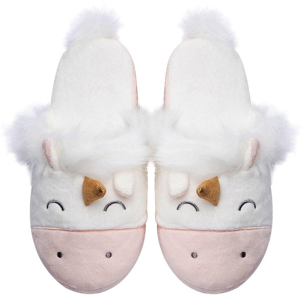 Unicorn Animal Fleece Slippers | Indoor Outdoor Home Slippers | Cozy Plush Memory Foam