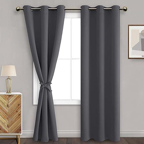 DWCN Dark Grey Blackout Curtains