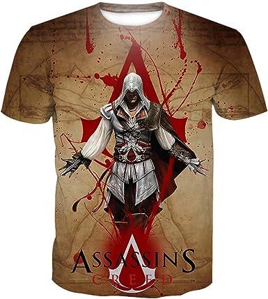 Denkqi Camiseta T-Shirts Hombres Mujeres Impresión 3D para Verano Redondo Manga Corta Poliéster/Algodón Ventilación Suave Deportiva Tops AssassinS Creed XXL: Amazon.es: Ropa y accesorios