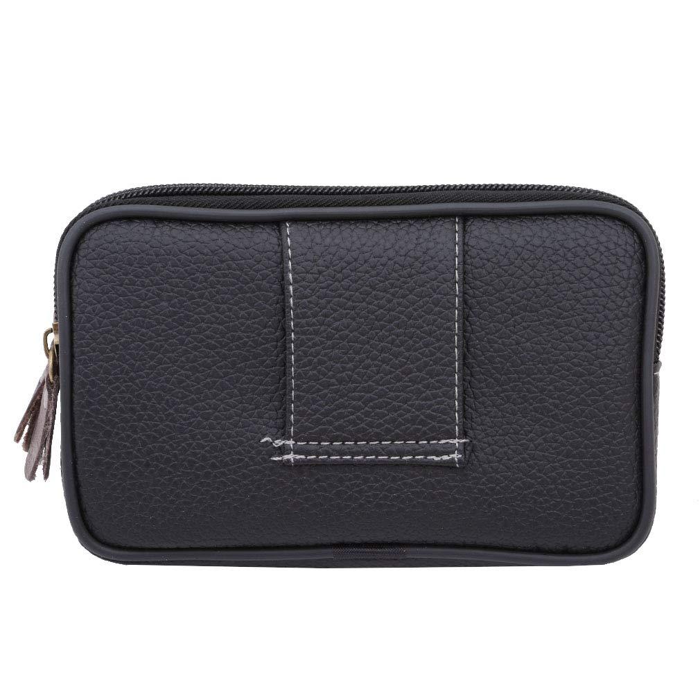VWH PU Leather Multi-function Waist Bag Double Zipper Phone Pocket Card Bag Men's Travel Pouch (black)