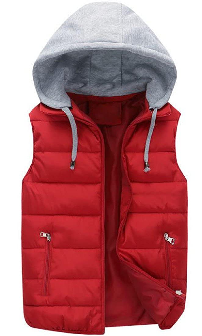 Abetteric Women Zipper Fall Winter Hooded Chunky Quilted Jacket Vest