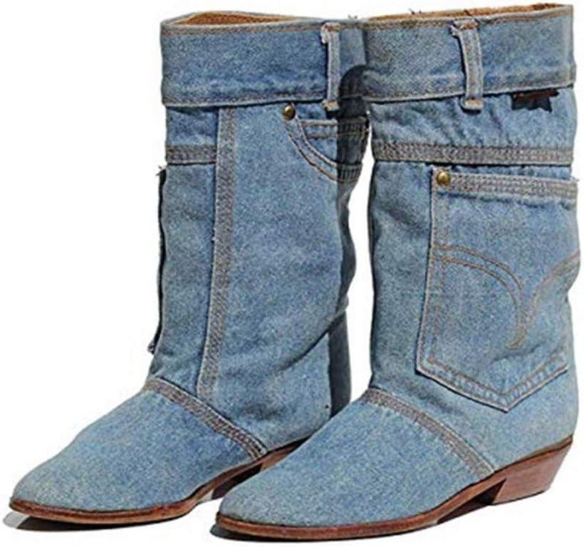 SHANGWU Bottes Femme Hiver Denim d/écontract/é//Bottes pour Femmes /à la Taille Talon Plat Bottes d/écontract/ées en Jean Dames Automne Hiver Chaussures Peeptoe