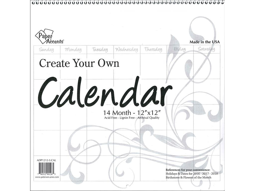 Accent Design Paper Accents ADP1212-3.CAL Cyo Calendar 12x12 Blank WHT Cyo Calendar 12x12 14 Month Blank White