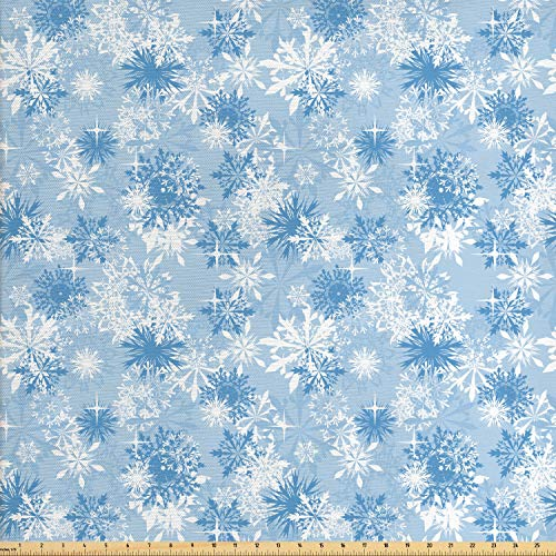 Ambesonne Snowflake Fabric by The Yard, Winter Holiday Illustration Christmas Snowflakes on Abstract Background, Decorative Fabric for Upholstery and Home Accents, 1 Yard, Pale Blue White]()