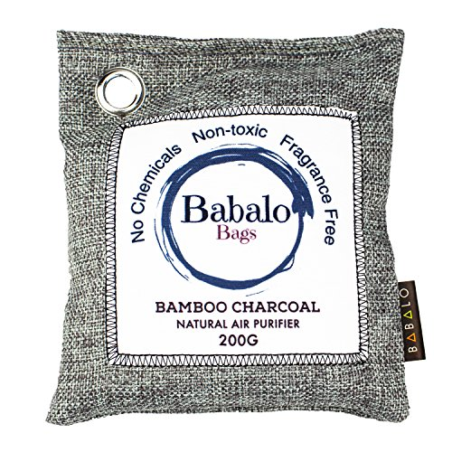 Bamboo Air Purifying Charcoal Bag Odor Absorber for Cars, Home, Closets, Shoes, Pets,- Absorbs and Removes Odors and Mildew. Deodorizer Bags are 100% Natural and Long lasting No Fragrance By Babalo