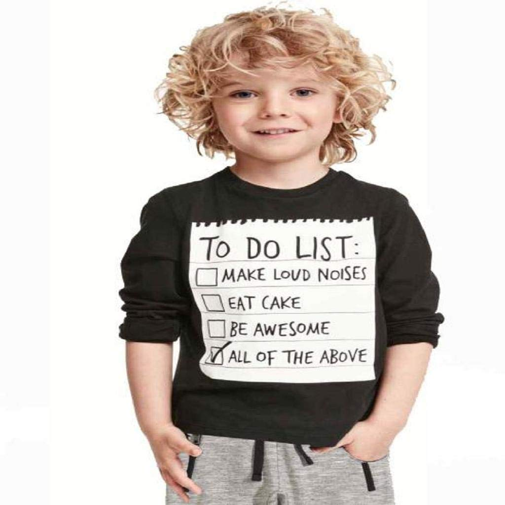 Doinshop 1Set Kids Boys Handsome Black T-shirts+ Gray Casual Warm Pants