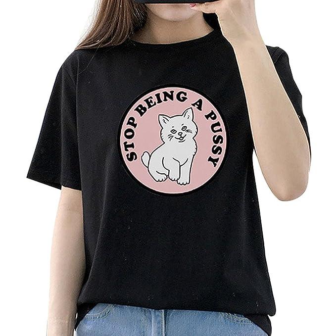 Republe Muchachas de Las Mujeres de Dibujos Animados del Gato Camiseta de Las Letras T Tapa del Verano de la Blusa del Tamaño Extra Grande: Amazon.es: Ropa ...