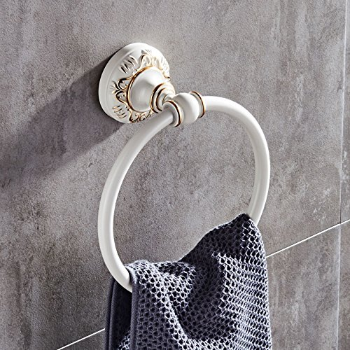 Znzbzt space aluminum ivory white polished gold round towel rack carved Metal hanging from a towel ring towel