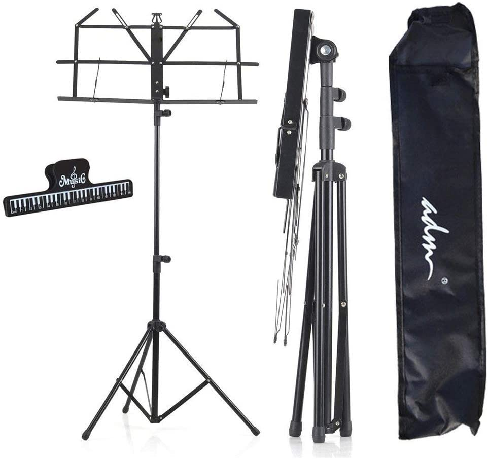 ADM Music Stand Lightweight Easy to Set Collapsible Adjustable Orchestra Portable Sheet Music Stand with Carry Bag