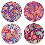 SxinHome Absorbent Ceramic Stone Coasters for Drinks,Paisley,Set of 4