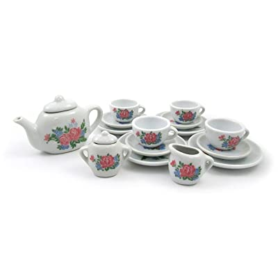 17 Piece Girls Porcelain Ceramic Tea Set Collection (Assorted Styles)