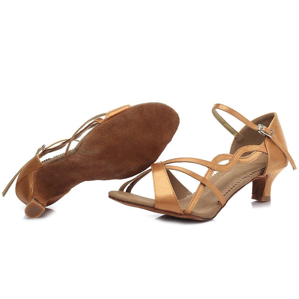 HROYL Women Latin Dance Shoes Professional Dancing Shoes Ballroom Dance Shoes Ballroom Satin Heeled About 5CM//7CM Model-TY-B26