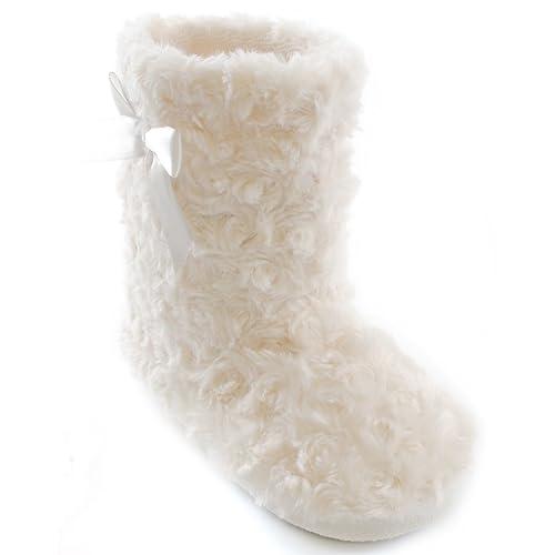 Botas/Zapatillas de Estar por casa diseño sedosas con Detalle de Lazo para niñas (