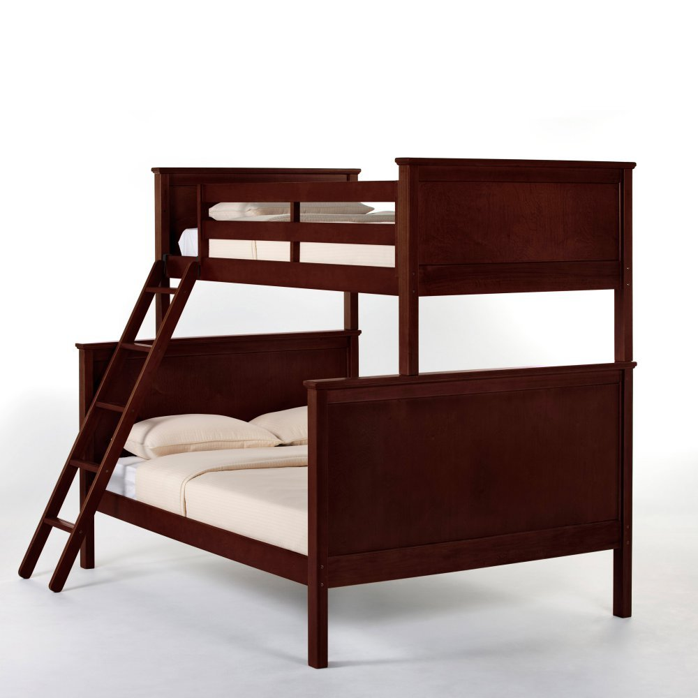 NE Kids School House Twin Over Full Storage Panel Bunk Bed in Cherry