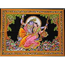 Indian Wall Decor Hippie Tapestries Bohemian Mandala Tapestry Wall Hanging Throw Multi Lord Radha Krishna Wall Tapestry