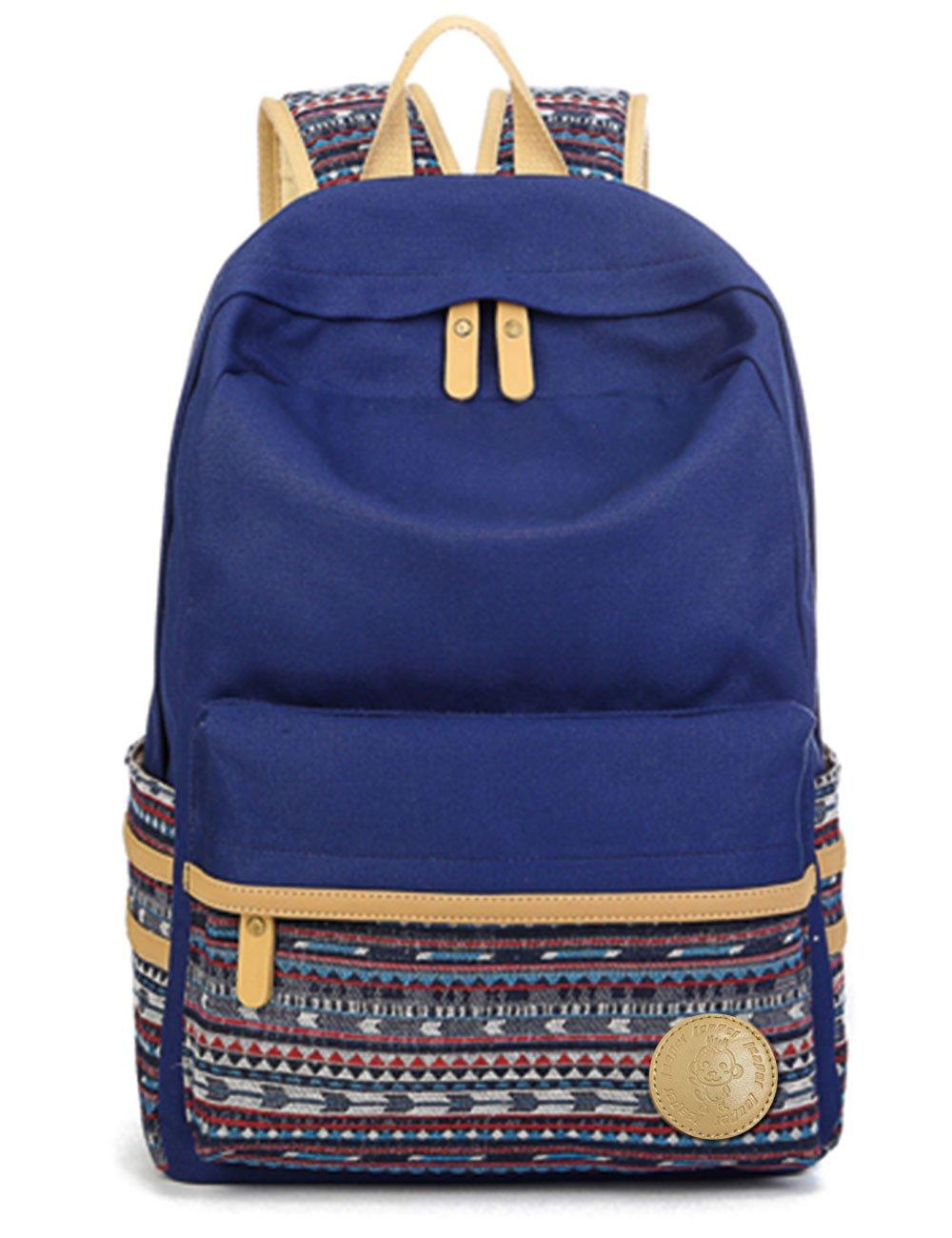 Leaper Casual Style Lightweight Canvas Laptop Bag Cute Backpack Shoulder Bag School Backpack Travel Bag (Navy Blue A3)