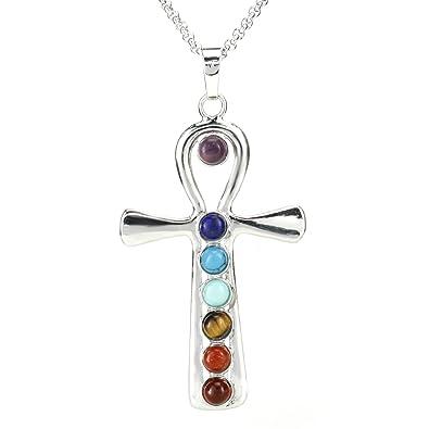 3ccb542b0 BEADNOVA 7 Chakras Healing Pointed Crystal Chakra Reiki Jesus's Cross  Gemstone Pendent Necklace Stainless Steel Chain
