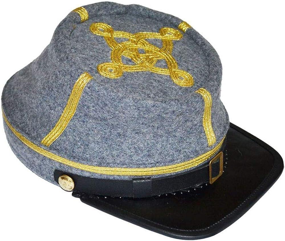 US Civil War Confederate Infantry Major/'s Leather Peak Kepi
