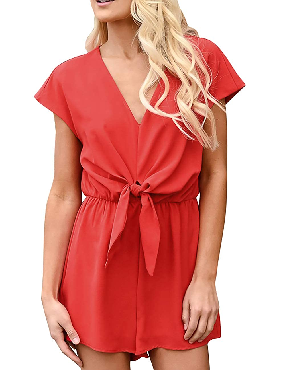 SEBOWEL Womens Summer Casual Loose Tie Knot V Neck Short Sleeve Shorts Rompers Jumpsuits