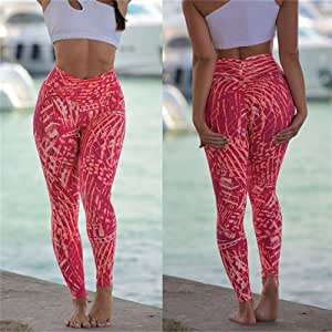 Jinqiuyuan Yoga Pants Woman Fitness Sports Leggings Workout Printed Sports Running Leggings Push Up Gym Wear Elastic Slim Pants Plus Size (Color : Red, Size : S)