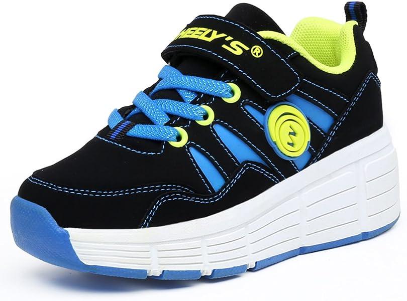 KE Los niños Unisex de luz LED Zapatillas con Ruedas de Rodillos Zapatos Auto-párrafo