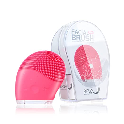 BeneU Makeup Facial Brush Cleaner Face Massager Exfoliator Sonic Silicone Vibrating Rechargeable Electric Waterproof Cleansing for Skin Care, Polish Scrub, Anti-Aging, Acid, Peels, Reduce Acne(Pink)