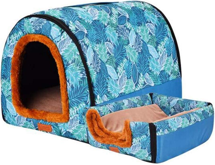 ペットベッド犬小屋大型犬中型犬ペットの巣、猫の家犬の家屋内洗える犬のベッド (Color : 青, Size : L) 青 L