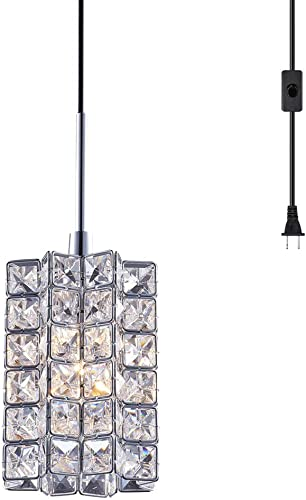 SHUPREGU Modern Plug in Dimmable Pendant Light Ceiling Crystal Light Fixture Chrome Finish Lighting for Kitchen Island, Dining Room, Bedside LED Bulb Not Included