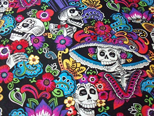 day-of-the-dead-fabric-catrina-chiquita-black-background-by-the-fat-quarter-btfq-new