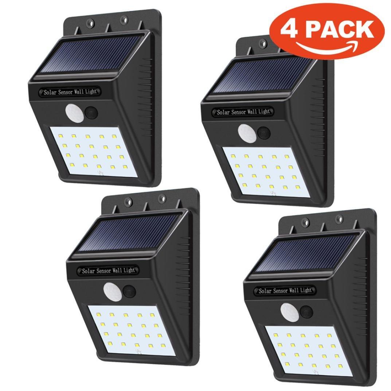 DZT1968 4 Pack - Solar Power Sensor 4W 12000K Wall Light Security Motion IP65 Weatherproof Outdoor Lamp