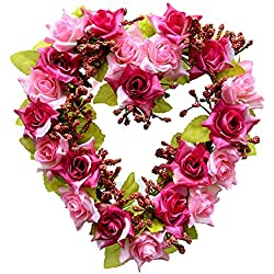 Adeeing Vintage Handmade Natural Wall Hanging Wreath Heart-shape Garland for Wedding Home Decor Fuchsia