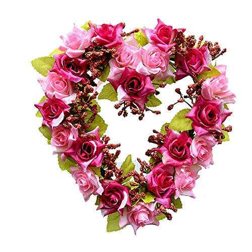 Happy Holly Wreath (Adeeing Vintage Handmade Natural Wall Hanging Wreath Heart-shape Garland for Wedding Home Decor Fuchsia)