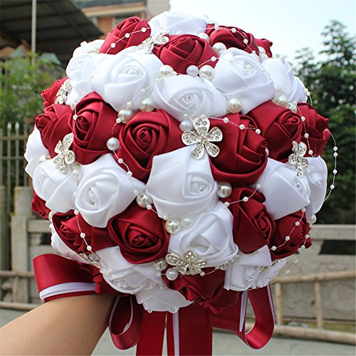 FYSTORE Hand Made Diamond Pearl Silk Roses Bridesmaid Bridal Artificial Bouquets Customization Bride Holding Bouquet Durable Wedding silk bouquet Flower 18cm (White+Wine Red)