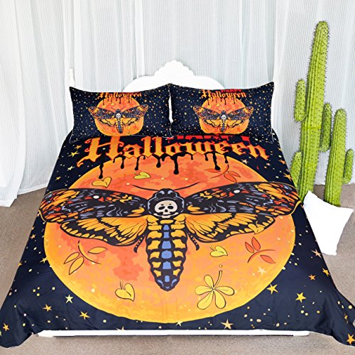 ARIGHTEX Death Moth and Flower Bedding 3 Piece Orange Halloween Pumpkin Duvet Cover Set Gothic Skull Butterfly Bedspread (Full) -