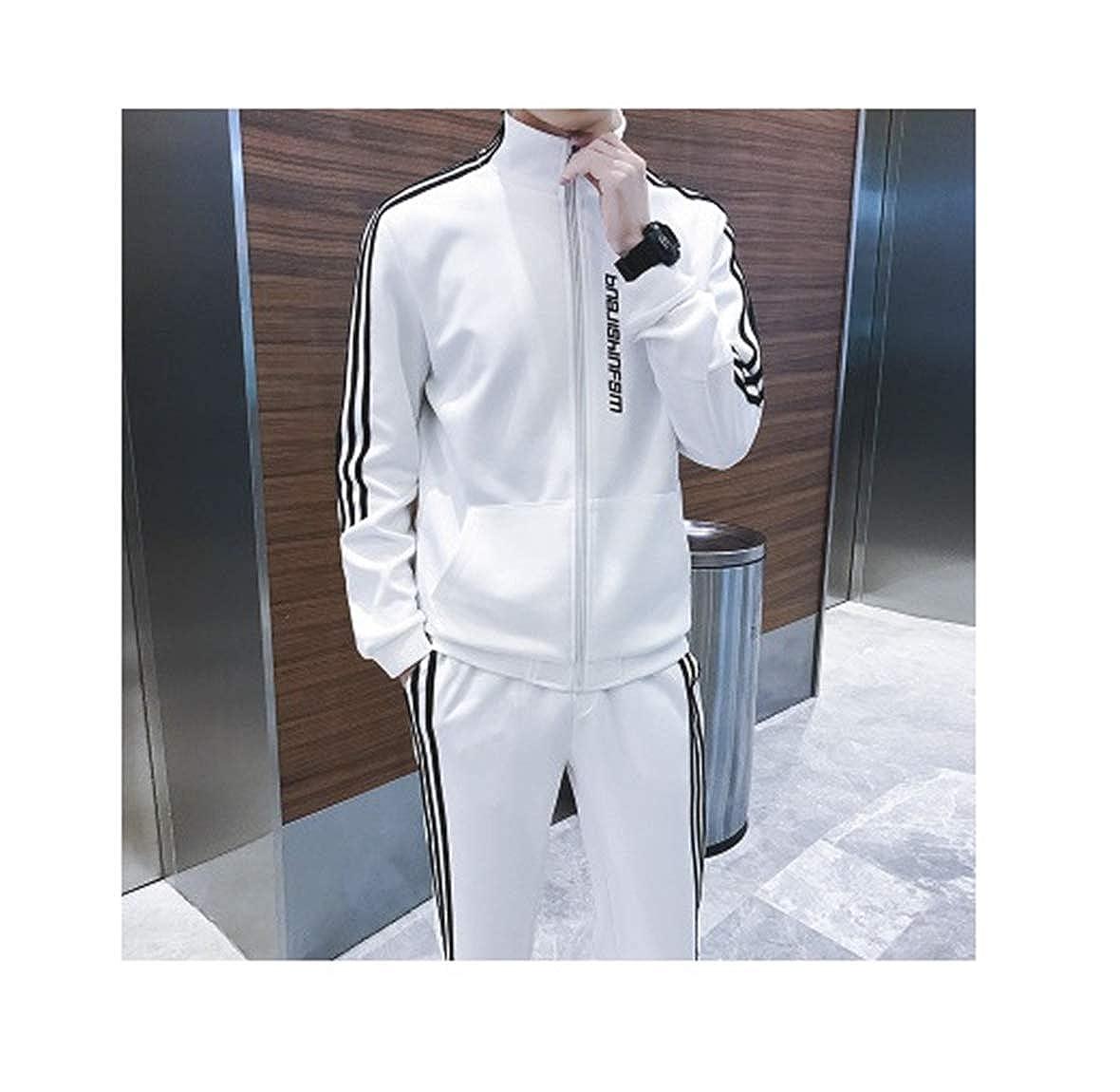 Bernice Chaplin Sportanzug für Herren mit Pullover bietet Laufbekleidung für den Außenbereich(Weiß,XX-Large)