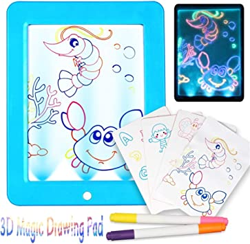 Dibujar con Luz Juguetes,3D Magic Drawing Pad Pizarra Magica para ...